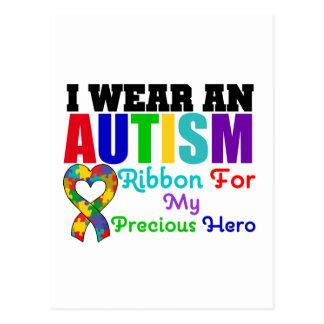 Autism I Wear Ribbon For My Precious Hero Postcard
