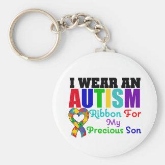 Autism I Wear Ribbon For My Precious Son Basic Round Button Keychain