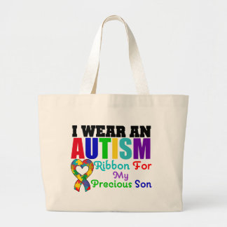 Autism I Wear Ribbon For My Precious Son Large Tote Bag