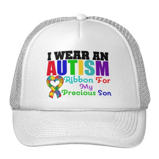 Autism I Wear Ribbon For My Precious Son Mesh Hats