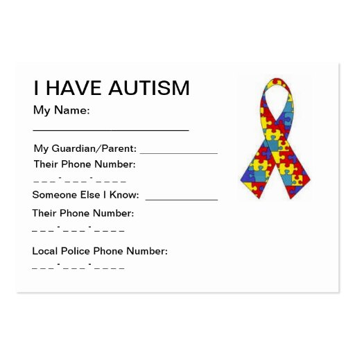 Autism Business Card Templates