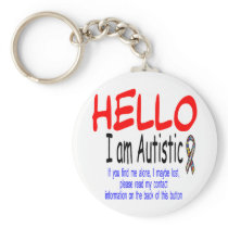 autism info button keychain