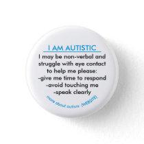 Autism information badge pinback button