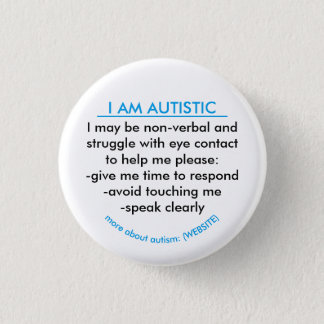 Autism information badge pinback button