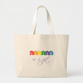 Autism is a gift large tote bag