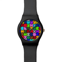 Autism jigsaw wrist watch