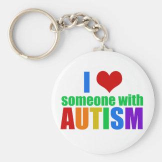 Autism Love Basic Round Button Keychain