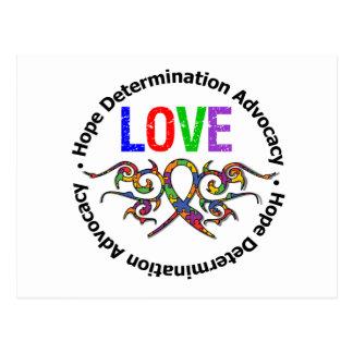 Autism Love Tribal Ribbon Post Card