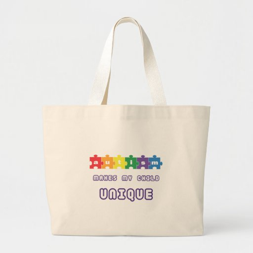 Autism makes my child unique jumbo tote bag