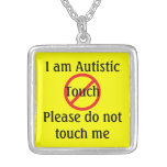 Autism Medical Alert No Touching Square Pendant Necklace