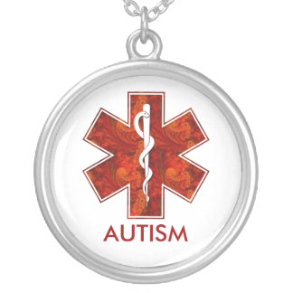 Autism Medical   Necklace: Customizable Round Pendant Necklace