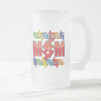 Autism Mom - I Love My Child 16 Oz Frosted Glass Beer Mug