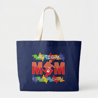 Autism Mom - I Love My Child Large Tote Bag