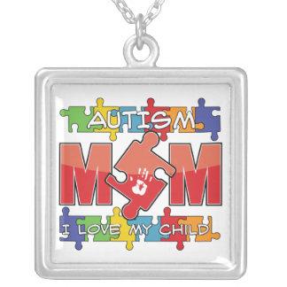 Autism Mom - I Love My Child Square Pendant Necklace