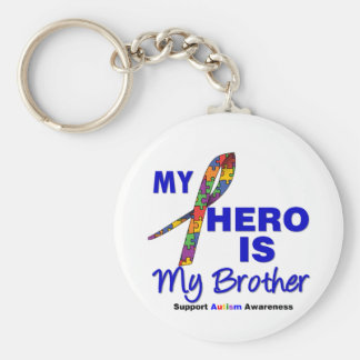Autism My Hero is My Brother Basic Round Button Keychain