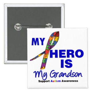 Autism My Hero is My Grandson 2 Inch Square Button