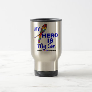 Autism My Hero is My Son 15 Oz Stainless Steel Travel Mug
