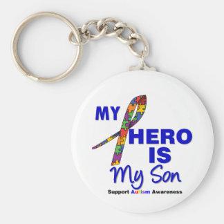 Autism My Hero is My Son Basic Round Button Keychain