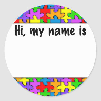 Autism Name Tag Classic Round Sticker