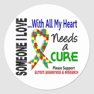 Autism Needs A Cure 3 Classic Round Sticker