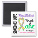Autism Needs A Cure 3 (Pastel) 2 Inch Square Magnet