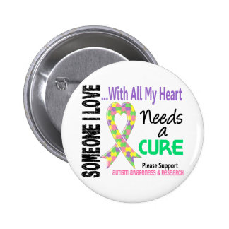 Autism Needs A Cure 3 Pastel Pinback Button