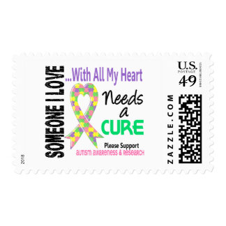 Autism Needs A Cure 3 (Pastel) Postage