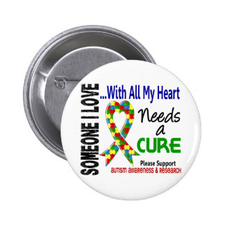 Autism Needs A Cure 3 Pinback Button