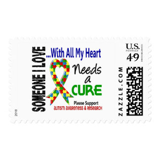Autism Needs A Cure 3 Postage Stamps