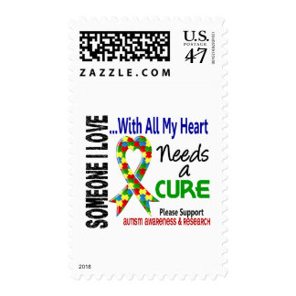 Autism Needs A Cure 3 Postage Stamp