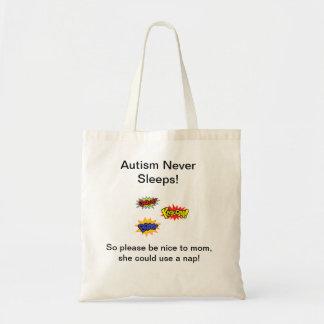 Autism never sleeps tote bag