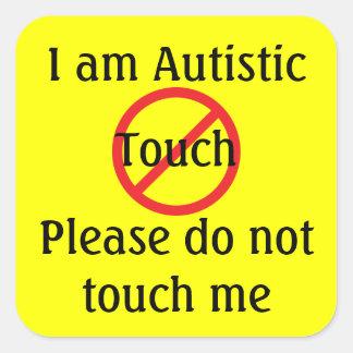 Autism No Touching Medic Alert Gear Square Sticker