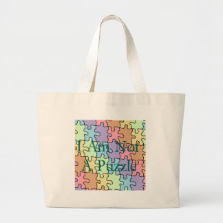 autism not a puzzle 1 large tote bag