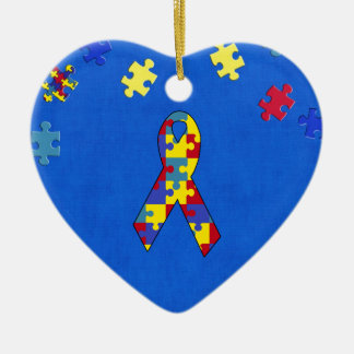 Autism Double-Sided Heart Ceramic Christmas Ornament