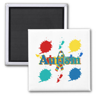 Autism painted 2 inch square magnet