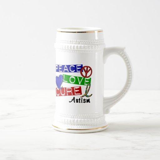 Autism PEACE LOVE CURE Mug