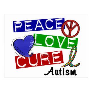 Autism PEACE LOVE CURE Postcard