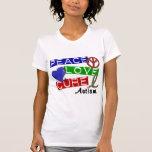 Autism PEACE LOVE CURE T Shirts