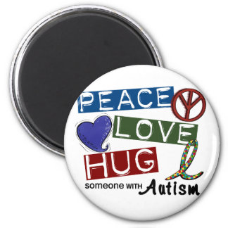 Autism PEACE LOVE HUG 2 Inch Round Magnet