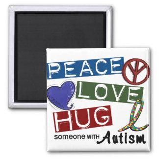 Autism PEACE LOVE HUG 2 Inch Square Magnet