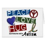 Autism PEACE LOVE HUG Greeting Card