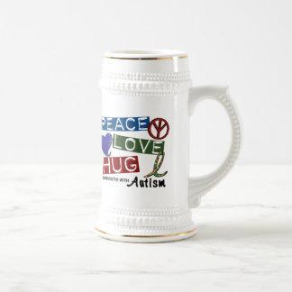 Autism PEACE LOVE HUG 18 Oz Beer Stein