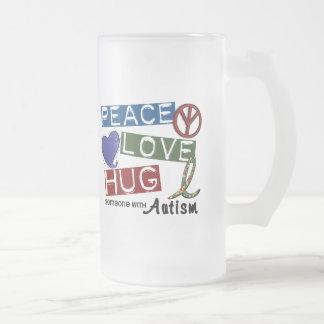 Autism PEACE LOVE HUG 16 Oz Frosted Glass Beer Mug