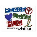 Autism PEACE LOVE HUG Post Cards
