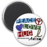 Autism PEACE LOVE HUG Refrigerator Magnet