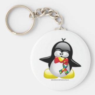 Autism Penguin Basic Round Button Keychain