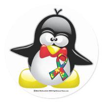 Autism Penguin Classic Round Sticker