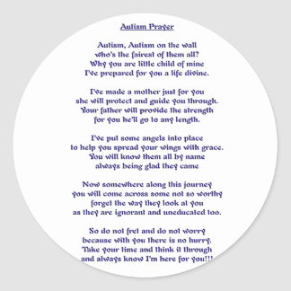Autism Prayer Classic Round Sticker