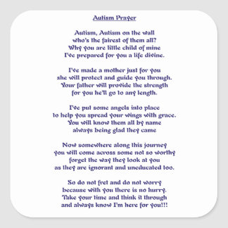 Autism Prayer Square Sticker