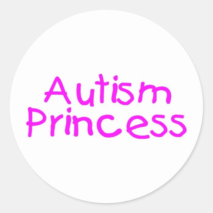 Autism Princess (Pink) Round Sticker